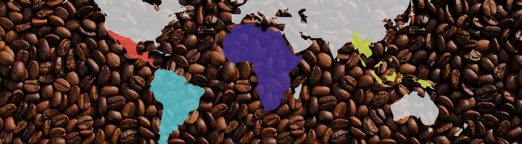 a coffee growing regions map, Mexico, Central America, South America, Africa, Indonesia.